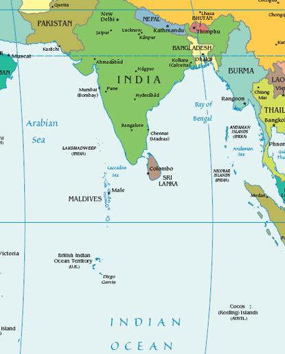 Maldives Map With India - Maldives map india