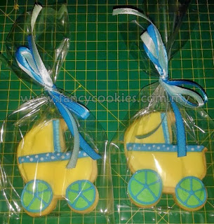 fancy cookies aqiqah baby stroller yellow blue