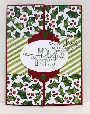 Stampin' Up! Wondrous Wreath sentiment. Bi-fold card opens in center to reveal sentiment. Handmade Christmas card by Lisa Young, Add Ink and Stamp