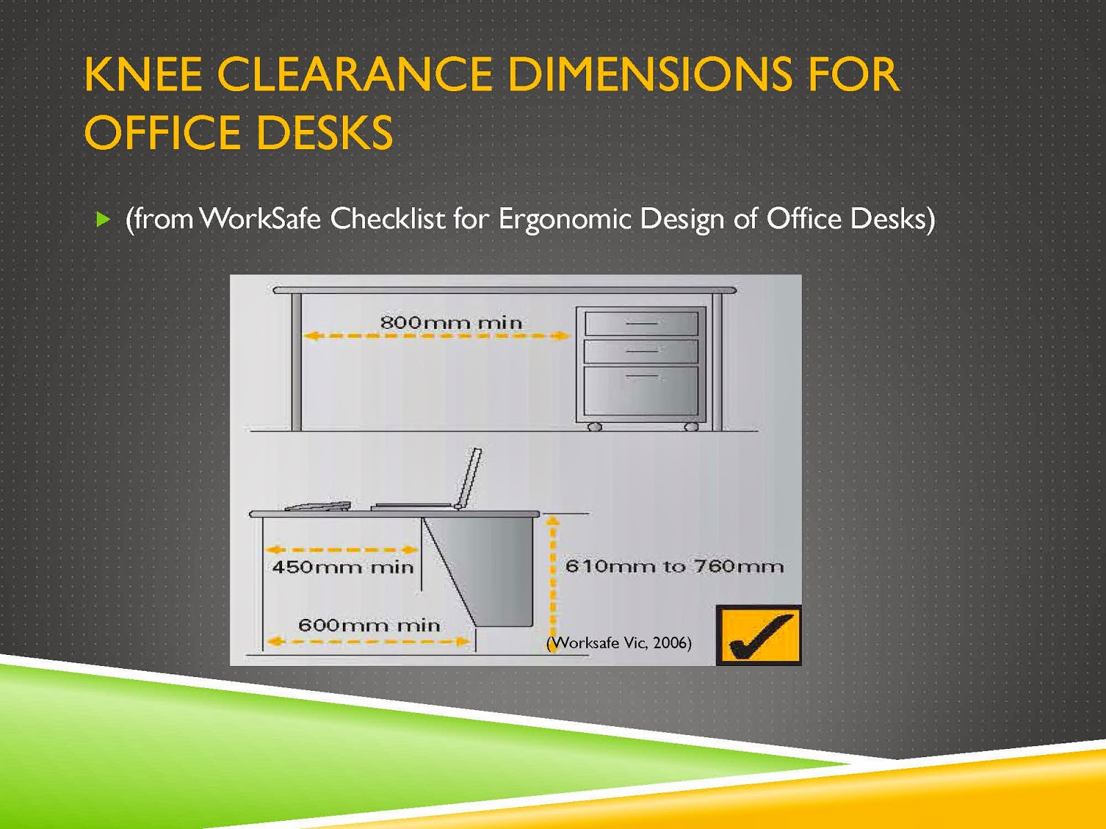 KNEE CLEARANCE DIMENSIONS FOR OFFICE DESKS
