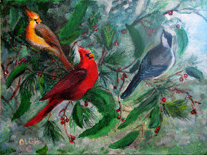 """Canadian Song Birds"" Acrylics 12x16"