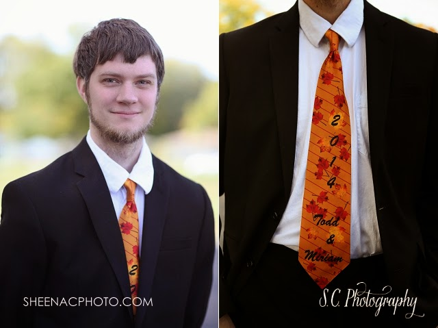 Custom fall wedding tie