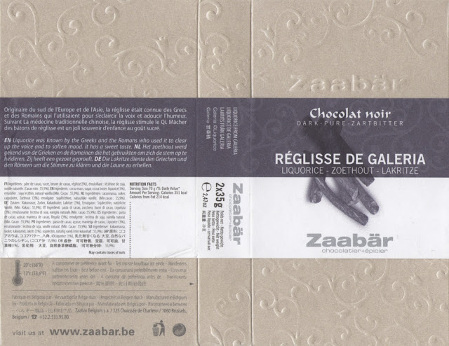 tablette de chocolat noir gourmand zaabär noir réglisse de galeria