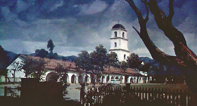"Matte painting of Mission San Juan Bautista from the movie ""Vertigo"""