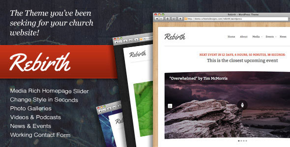 Rebirth Church Wordpress Theme Free Download.
