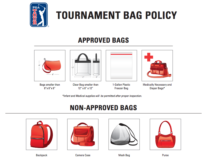 PGA Tour Bag Guidelines, PGA Tour Purse Policy, PGA TOUR Bag Policy