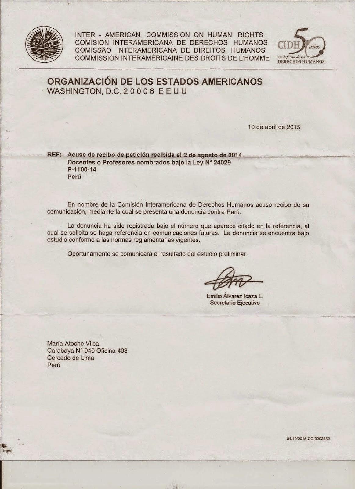 CIDH: DURO GOLPE AL ESTADO PERUANO Y SU GOBIERNO DE TURNO DE OLLANTA HUMALA