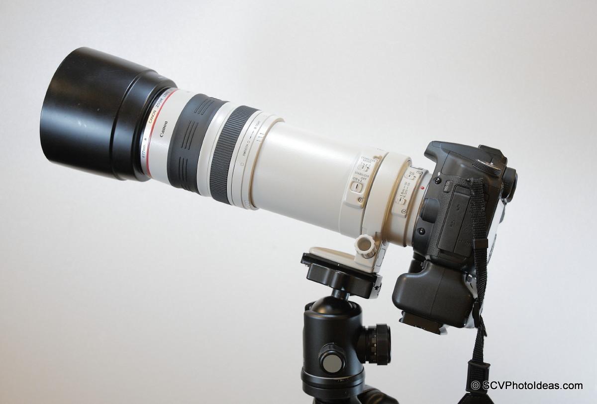 Canon EOS 50D+BG-E2N+EF 100-400 L IS USM on lens foot horizontal