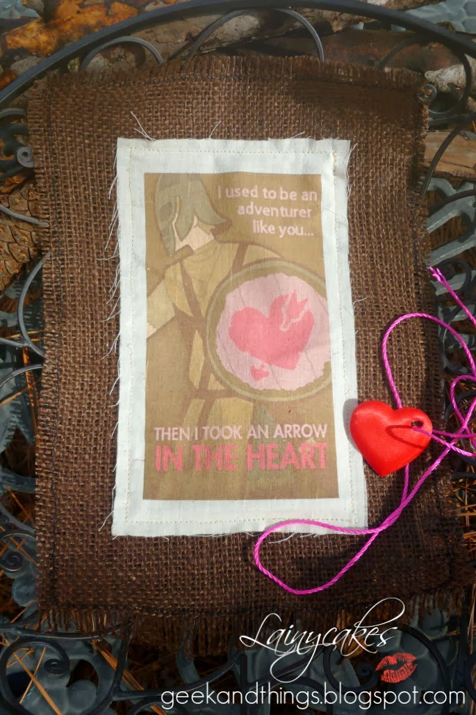 Skyrim Arrow to the Heart Valentine DIY color printed on fabric with Muslin and ink jet printer