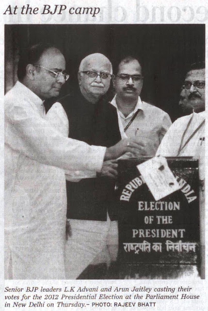 Senior BJP leaders L.K. Advani and Arun Jaitley casting their votes for the 2012 Presidential Election at the parliament House in New Delhi on Thursday. Satya Pal Jain polling agent of PA Sangma.