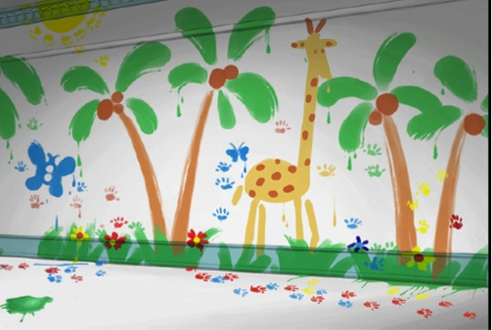 The Inspiration For The Cake U2013 A Scene From The Movie U2013 Curious Georgeu0027s  Painted Wall. Part 69