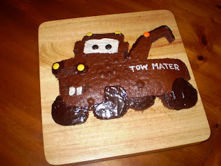 kid's birthday cake, Cars The Movie, Tow Mater, cake, birthday party