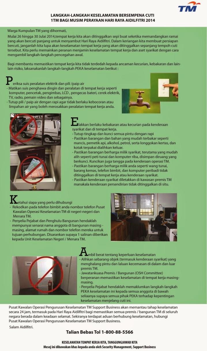 Langkah-langkah Keselamatan Bersempena Cuti 1TM bagi Musim Perayaan Hari Raya Aidilfitri 2013
