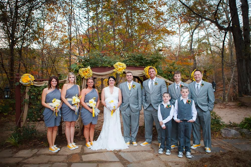 The Gray And Yellow Bridal Party Colors Are Perfect For A Fall Wedding Comfortable Sneakers Ensure Both Bridesmaids Groomsmen Can Walk Down