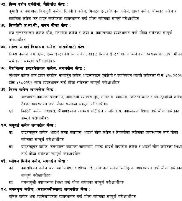 Find the Tribhuvan University's exam center notice for campues of
