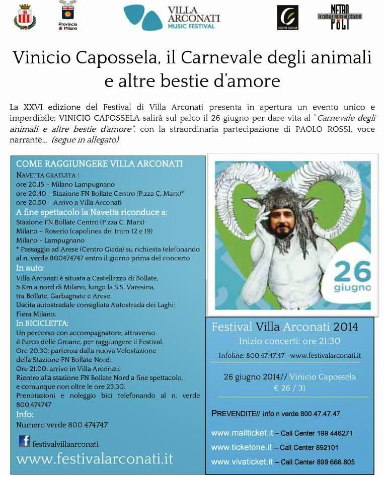 Villa Arconati Festival 2014: apertura con Vinicio Capossela e Paolo Rossi