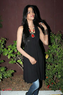 Dhanshika Pictures in Sleeveless Black Dress at Vallinam Movie First Look Launch ~ Celebs Next