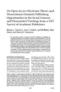 Do Open Access Electronic Theses and Dissertations Diminish Publishing Opportunities in the Social Sciences and Humanities