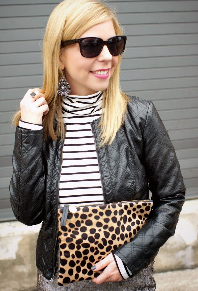 stripes and sequin pattern mixing