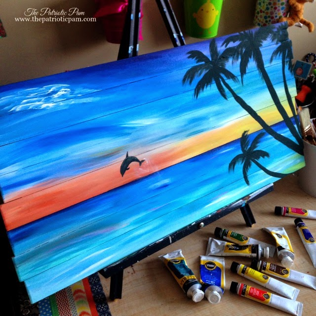 beach painting, dolphin painting, ocean, acrylic painting