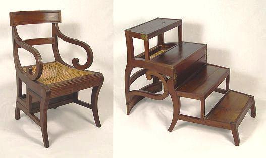 Charmant English Library Chair Cum Ladder, 1820