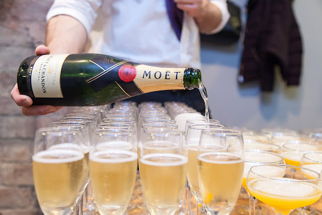 Glasses of Moet at Ishi Salon