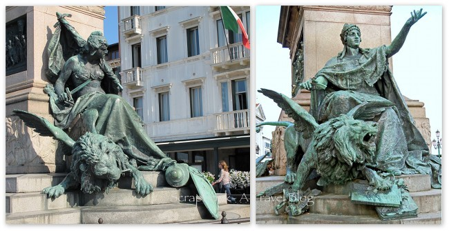 Statue of Venice and the Lion St Mark's Square Venice Italy