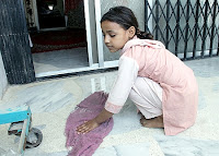 child domestic labourer worker, child wiping floor, indian, child sweeping floor, child maid, child servant