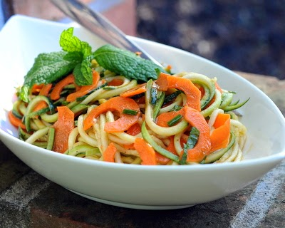 Spiral Zucchini Noodle Salad with Homemade Catalina Dressing, fresh, healthy, summery. Low carb.