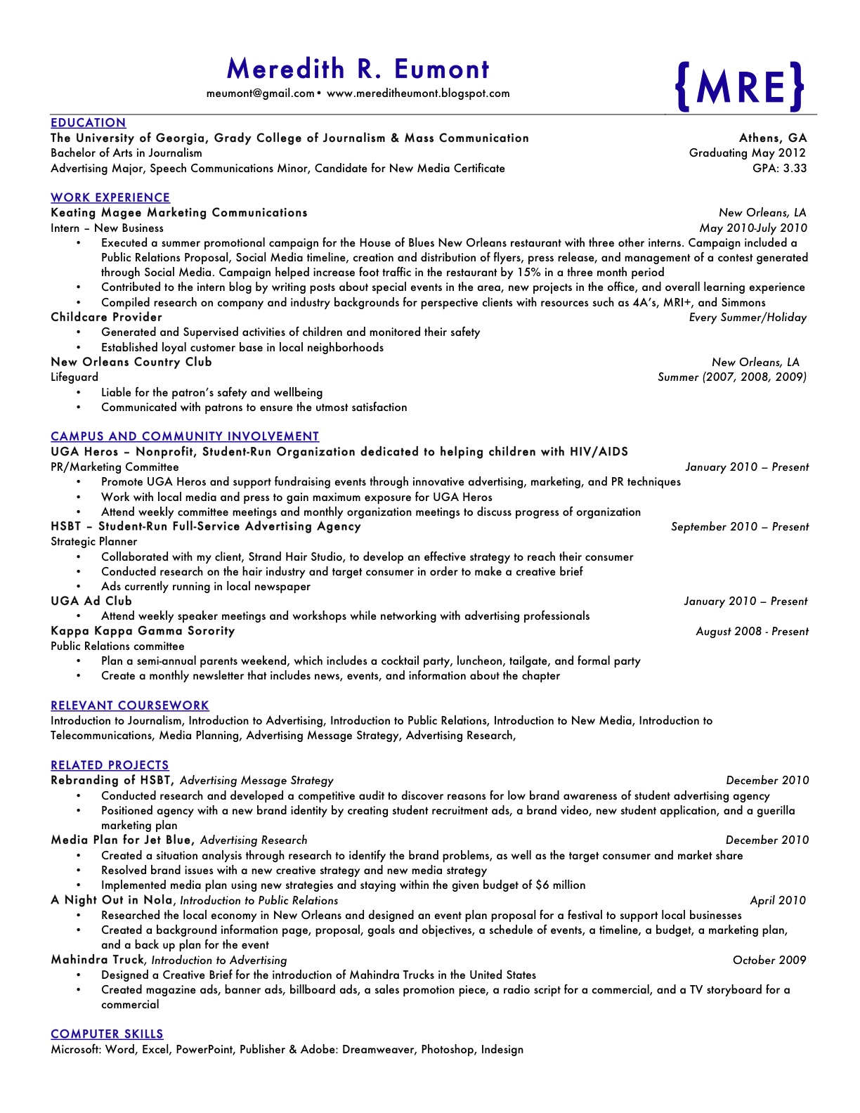 Resume with two addresses