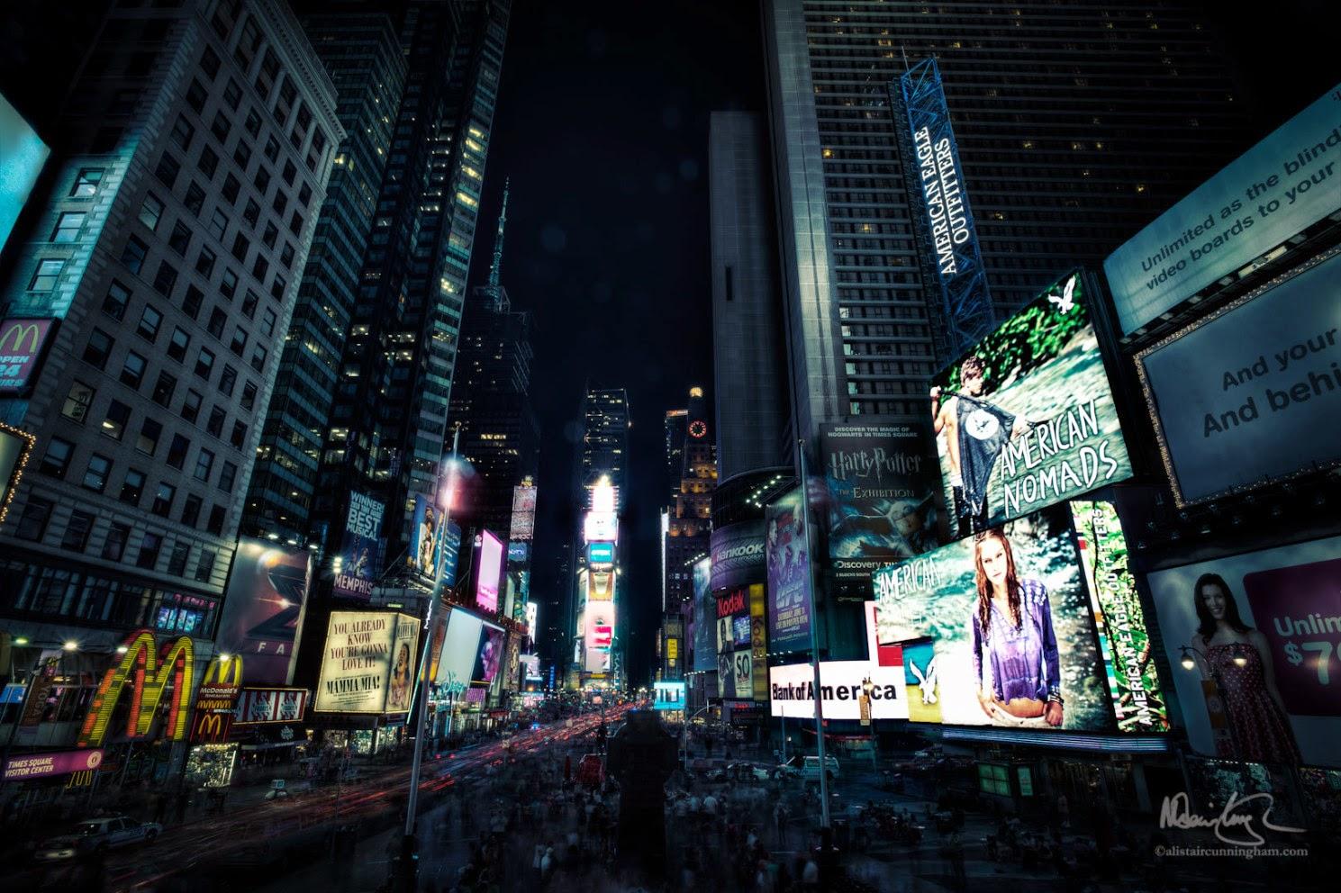 Alistair Cunningham, fotografía HDR, Times Square, Nueva York