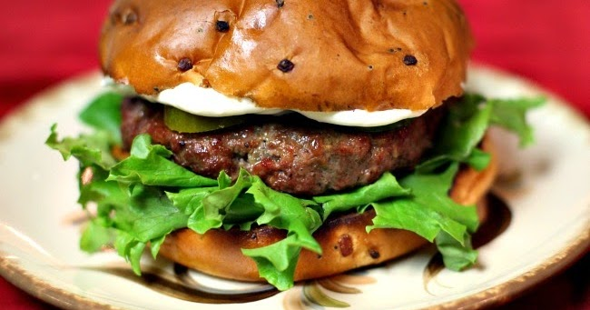 Recipes For Divine Living: Green Chile Burger with Cream Cheese Spread