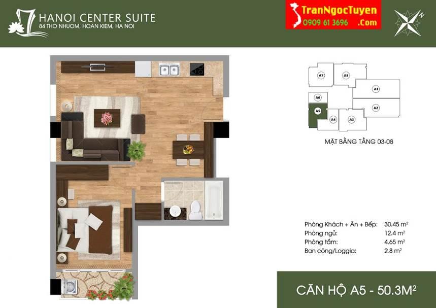 Thiết kế căn hộ A5 - 50.3m2 - 84 Thợ Nhuộm