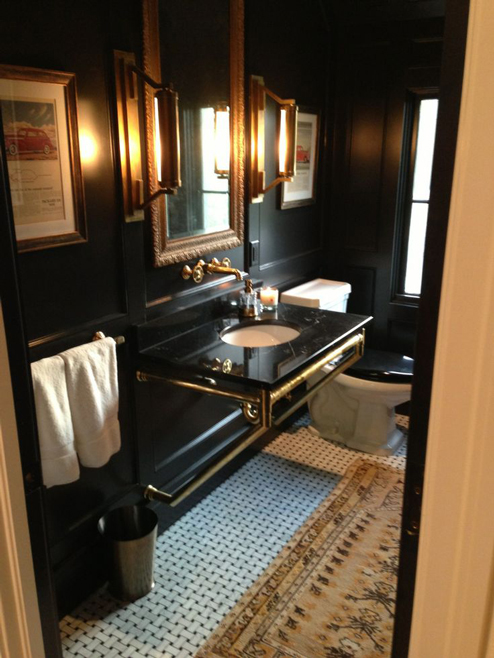 This bathroom by Tracery Interiors is another chic example of the impact  black and gold can have  I love the tile they chose to adorn the floor  as  well. The Peak of Tr s Chic  Needing  Wanting  Loving  A Brass Bathroom