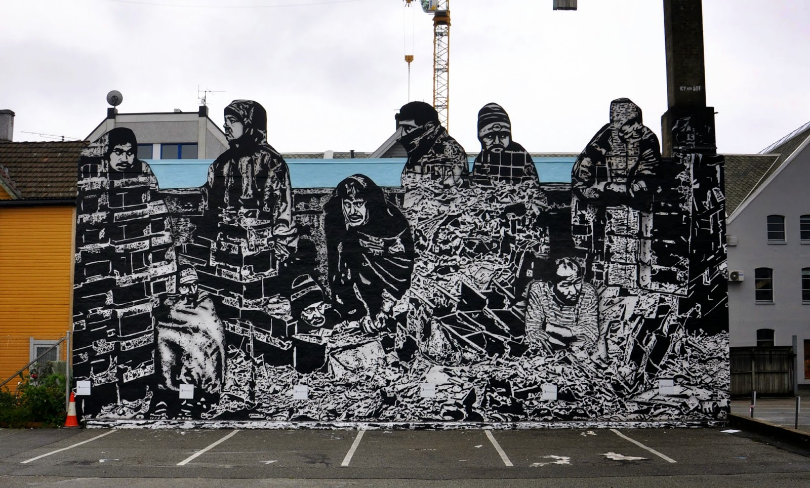 NYC-based Iranian duo Icy & Sot were also part of the excellent Nuart Festival where they worked on this new piece on the streets of Stavanger in Norway.