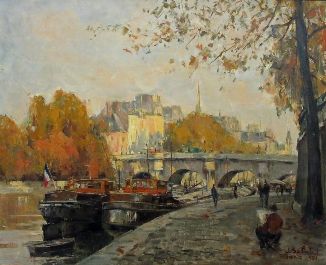 Jean Salabet Artist Sketching Beside the Seine