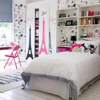 dormitorio juvenil rosa blanco negro