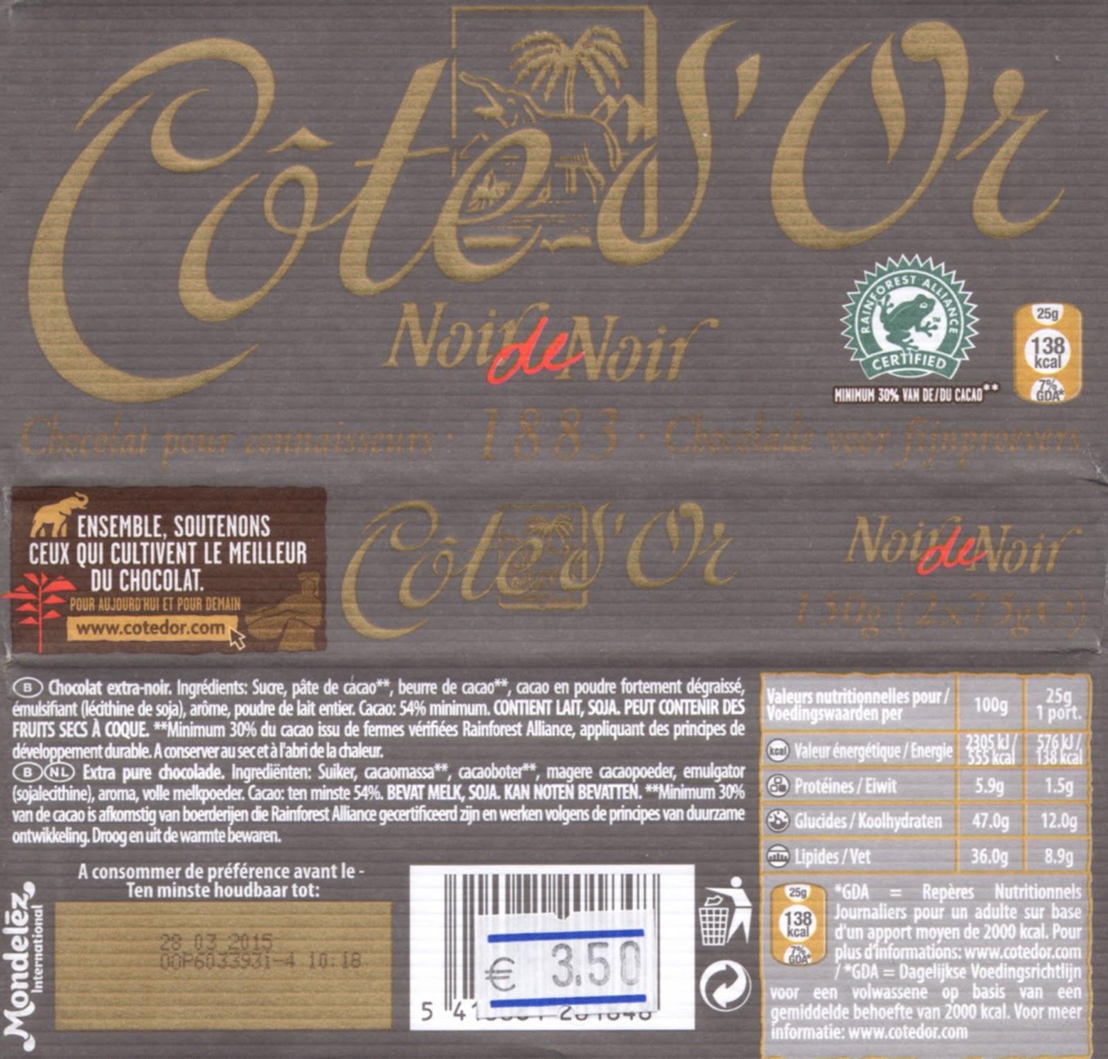 tablette de chocolat noir dégustation côte d'or noir 1883