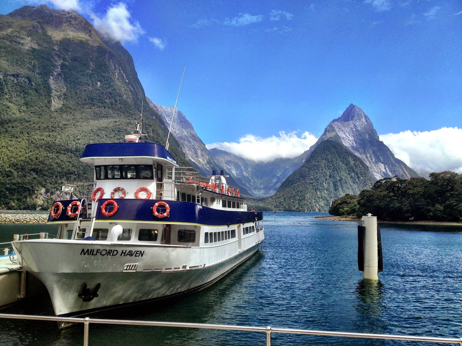 The view of Mitre Peak from Milford Sound dock, South Island, New Zealand