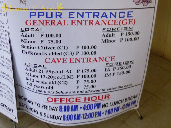 Admission fees to Puerto Princesa Underground River