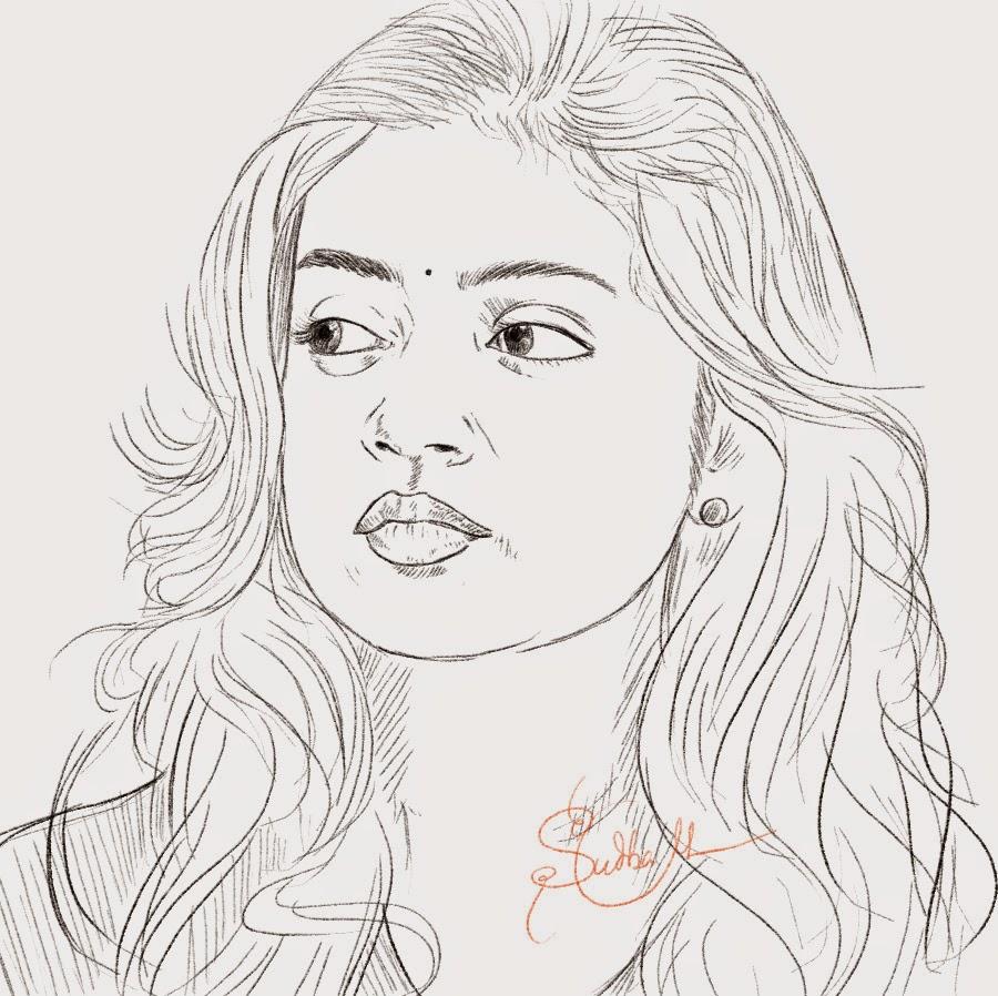 Tamil telugu actress nazariya nazim portrait drawing