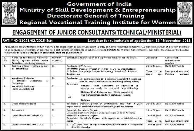 Ministry if skill development, government jobs, recruitment 2015, Vocational Training Institute, Women Government ITI