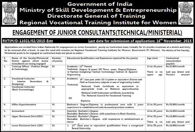 Ministry if skill development, government jobs, recruitment 2015, Vocational Training Institute, Women Government ITI