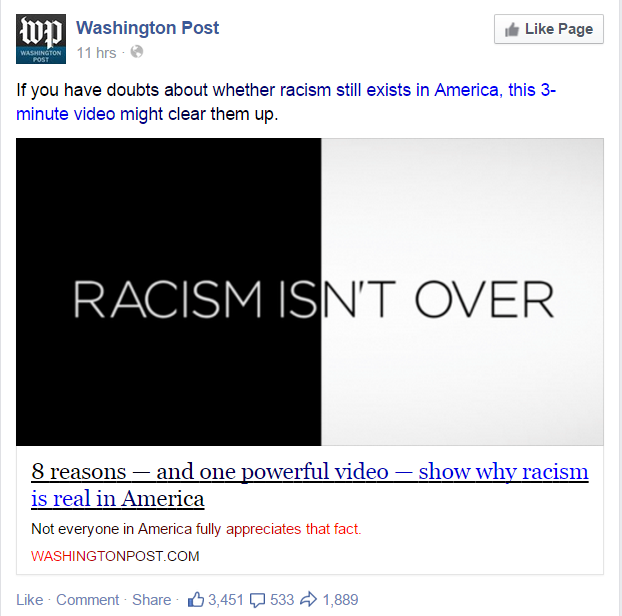 "FB post from the Washington Post regarding ""Racism Isn't Over"" video"
