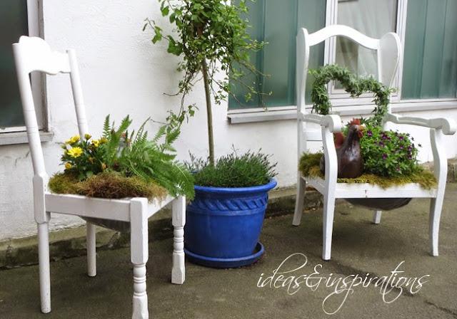 Ideas and Inspirations: Holzstühle als Garten dekoration * wooden ...