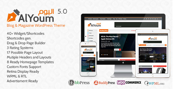 Free download latest version of AlYoum V5.3.1 Retina Magazine & Blog WordPress Theme