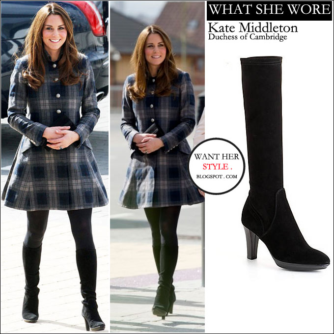 WHAT SHE WORE: Kate Middleton in blue and grey plaid coat with ...