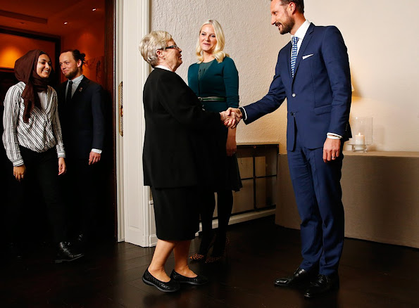 Crown Prince Haakon and Crown Princess Mette Marit of Norway held a dinner for members of the Red Cross at the Skaugum official residence