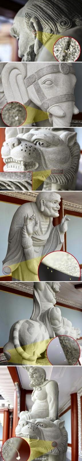 Ngày 20/10/2014, theo tờ Nhật Báo Hàn Quốc đưa tin, tượng 18 vị La Hán với tổng cộng 50 chỗ có hoa Ưu Đàm nở. (Ảnh: Đại Kỷ Nguyên)