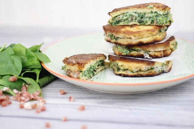 French Toast mit Spinat und Speck